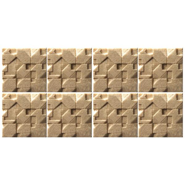 دیوارپوش تندیس و پیکره شهریار مدل آمای کد W1010-24 بسته 8 عددی