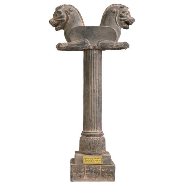 مجسمه تندیس و پیکره شهریار مدل ستون با سر شیر غرنده کد MO1440