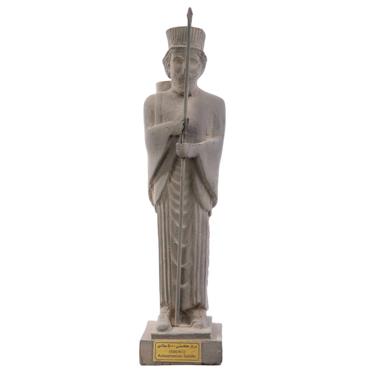 مجسمه تندیس و پیکره شهریار مدل سرباز نیزه دار پارسی کد MO1670 سایز متوسط