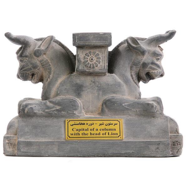 مجسمه تندیس و پیکره شهریار مدل سر ستون با سر گاو و ستون متوسط کد MO170